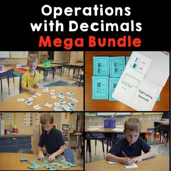 Area Models with Decimal OperationsUnderstand Decimal Place ValueTask Cards with Decimal OperationsInteractive Decimal Unit.  Begin with a review of Decimal Place value and introduce area models.  Then demonstrate each operation using the area model.  Lastly students will be able to solve higher order word problems with adding and subtracting decimals.****************************************You may also enjoy these math lessonsI Have Who Has Integers.Mixed Numbers and Improper…