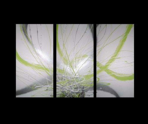 3 abstract canvas painting lime green white silver modern for Lime green wall art