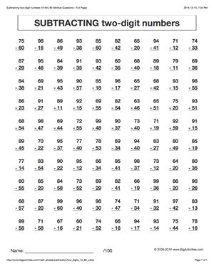 Subtraction math worksheets. Subtracting two-digit numbers. 6 ...