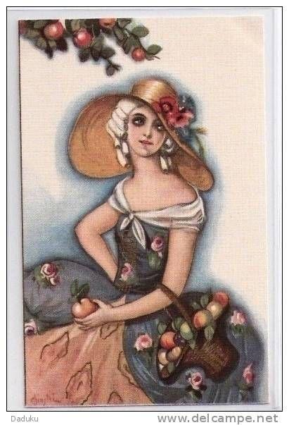 Chiostri Carlo, Dame, Hut, Aepfel, Pommes, Litho, ca. 1920  ***63135