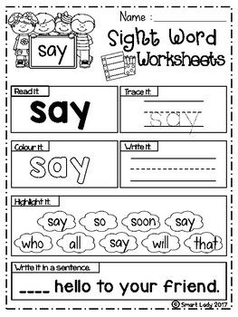 Free Sight Word Worksheets Primer By Smart Lady Teachers Pay Teachers Sight Word Worksheets Pre Primer Sight Words Worksheets Pre Primer Sight Words Sight word the worksheet