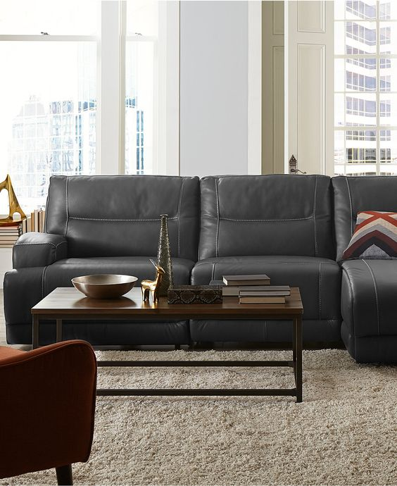 Caruso leather power motion sectional sofa living room furniture furniture macy 39 s playroom for Motion living room furniture