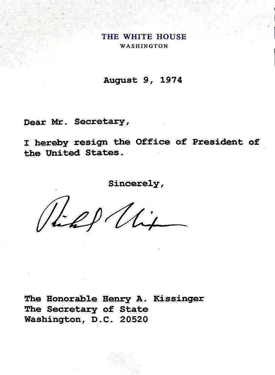 NIXON RESIGNATION LETTER US PRESIDENTS (2) - FIRST LADIES - nixon resignation letter
