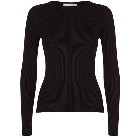 BOSS Womenswear Rib Knit Sweater (5.955 CZK) ❤ liked on Polyvore featuring tops, sweaters, stretch top, ribbed knit top, rib knit sweater, ribbed knit sweater and round neck sweater