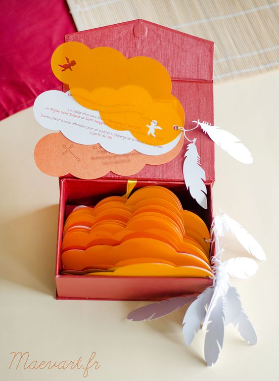 faire part dans les nuages bapt me pinterest communion bricolage et orange. Black Bedroom Furniture Sets. Home Design Ideas