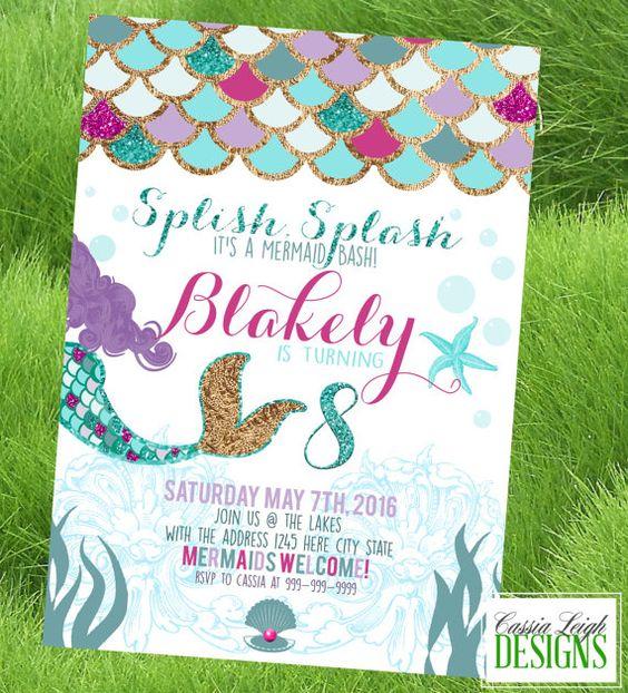 Mermaid / Under the Sea Birthday Party - Custom Invitation Printable - Purple and Mint / teal