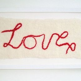 HAND FELTED 'LOVE X' WALL ART #7th wedding anniversary gift ideas http://www.giftgenies.com/presents/hand-felted-love-x-wall-art