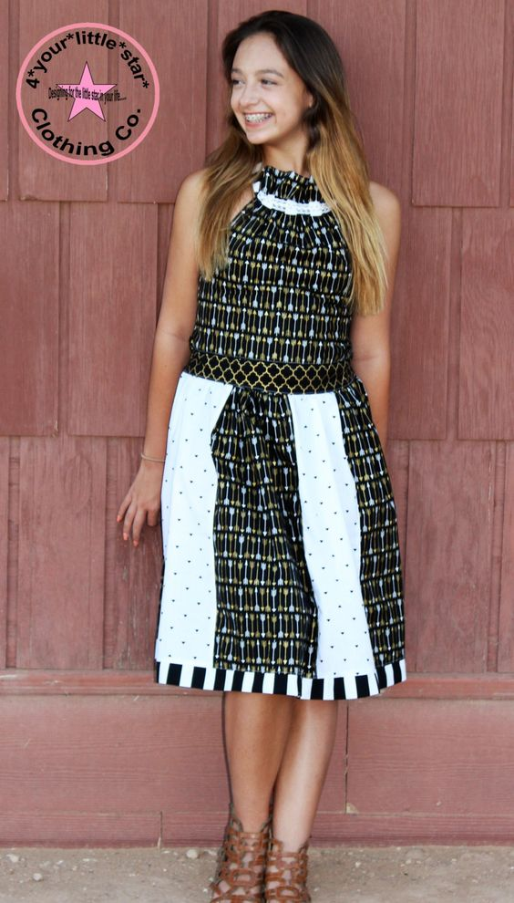 Arrow Dress Collection ~ Rosetta Ruffle Neck Stripwork Halter Dress Black Gold and white Sizes Girls, Tweens 7, 8 , 10, 12, 14 and 16 by 4yourlittlestar on Etsy