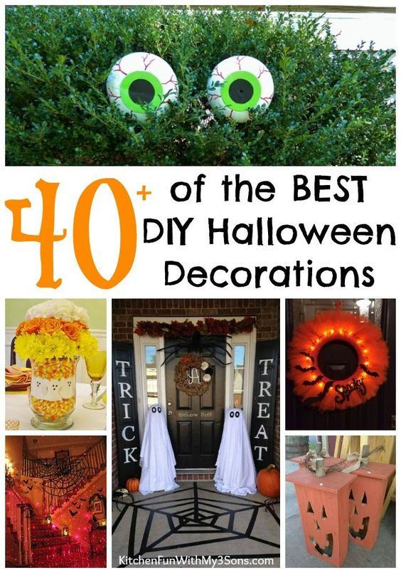 Over 40 of the BEST Homemade Halloween Decorations! These Spooky DIY Ideas are so easy to make and you have the scariest house in your neighborhood!