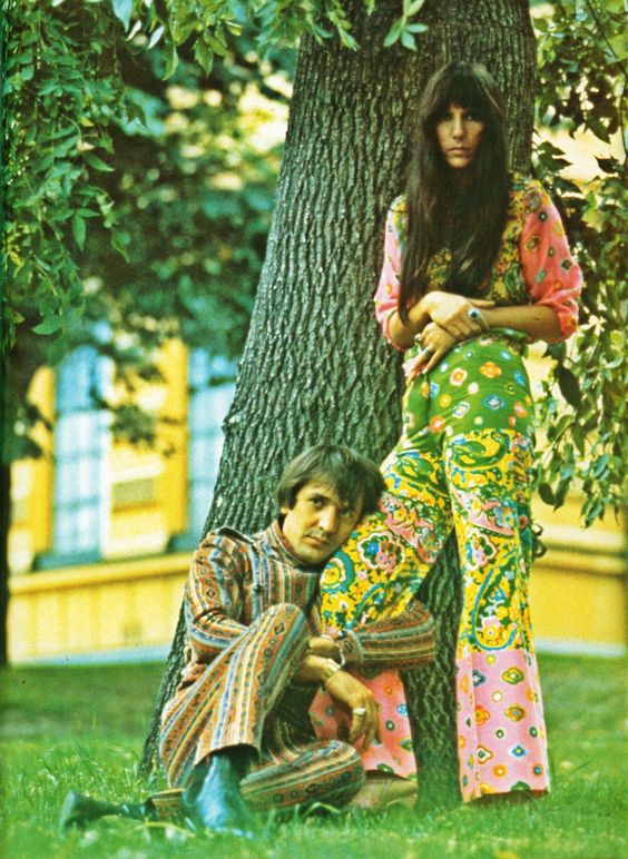 Sonny and Cher in Soho Square, London to promote 'The Beat Goes On', late 1966 or early 1967. Photo by Jan Olofsson.: