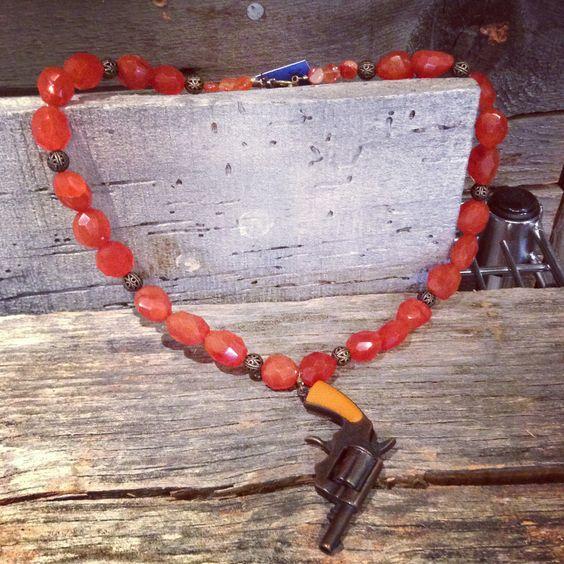 Pistol necklace from #jacksonhole artist Hannah M. Barker. $85 at @Wilsonformal.
