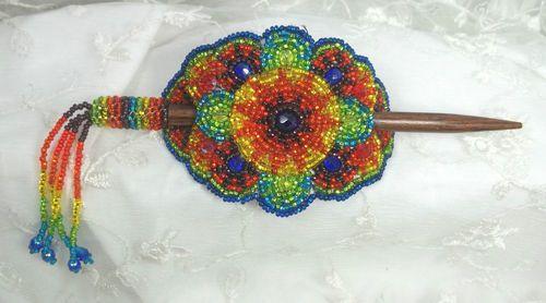 Czech Glass Beaded Barrette w Stick Rainbow Colors Beautiful | eBay
