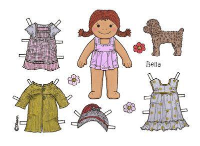 Karen`s Paper Dolls: Bella Paper Doll Onesheet in Colours. Bella…