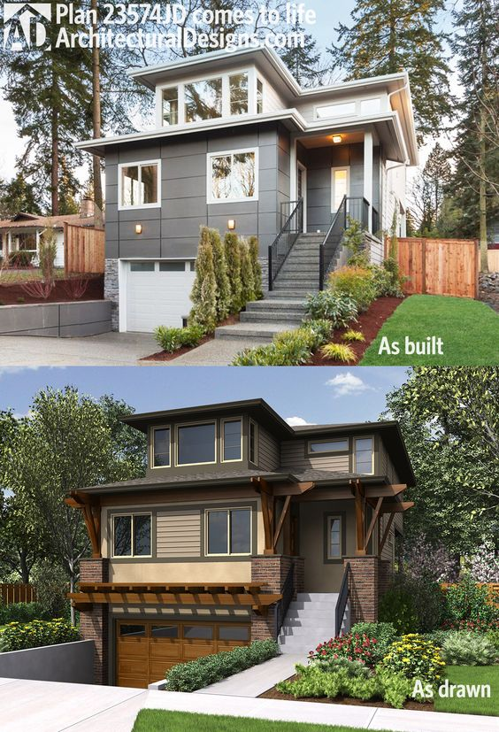 Plan 23574jd Northwest House Plan For Front Sloping Lot