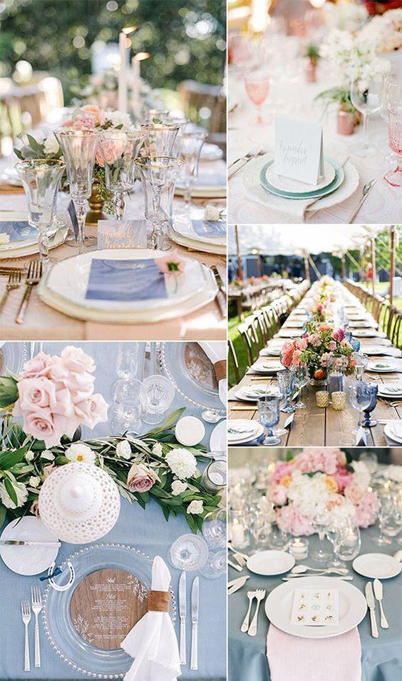 Decoração do casamento com as cores Pantone 2016: Azul Serenity e Rosa Quartz. São tons suaves e pasteis, perfeitos para um clima romântico e super acolhedor. Créditos: Elegant Wedding Invites.com: