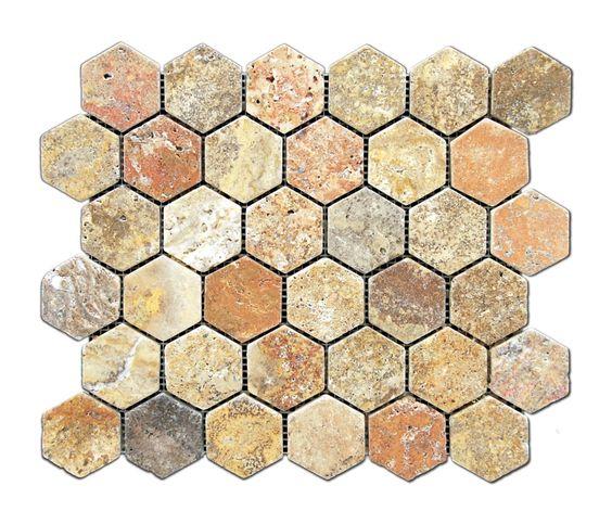 Buy Scabos Travertine Tumbled 2'' Hexagon Mosaic Tile Sample Product Attributes - Item: Premium (SELECT) Quality SCABOS TRAVERTINE TUMBLED 2'' HEXAGON MOSAIC TILE (ON-MESH) - Dimensions (per piece): 1
