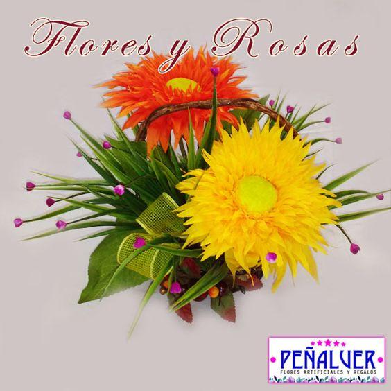 Cesta de girasoles - RF00477 Centros de flores artificiales para - flores artificiales para decorar