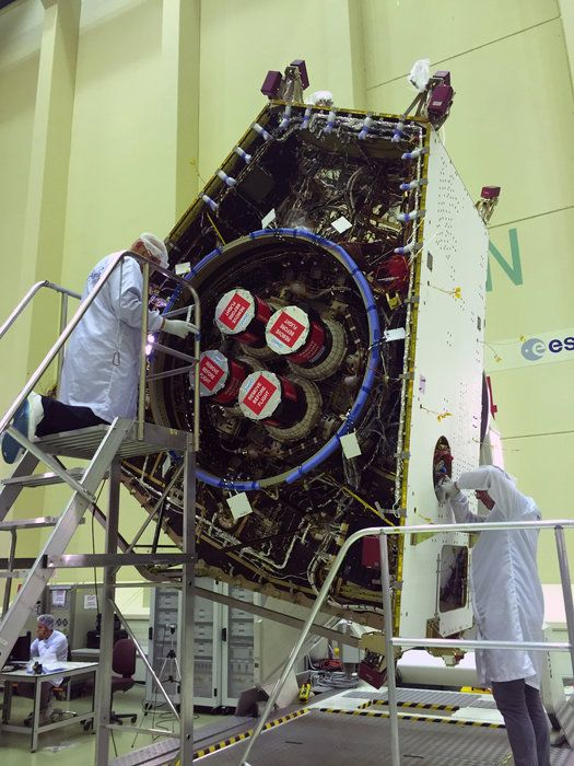 The base of ESA's Mercury Transfer Module with its four T6 ion thrusters fully fitted for its 6.5 year journey to Mercury, along with the rest of the BepiColombo spacecraft.  The module will carry Europe's Mercury Planetary Orbiter and Japan's Mercury Magnetospheric Orbiter together to the Sun's innermost planet.