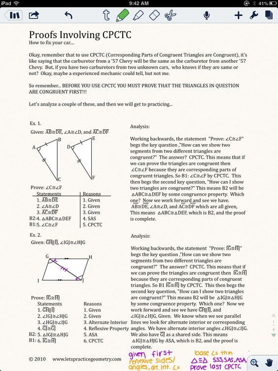 Proofs Involving Congruent Triangles Worksheet Answers free – Cpctc Worksheet