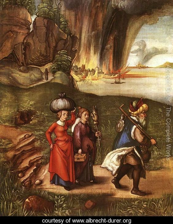 Lot Fleeing With His Daughters From Sodom. Albrecht Durer (1471-1528)