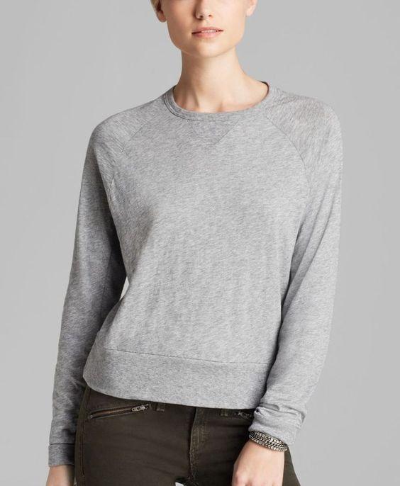 NWT RAG & BONE /Jean CLASSIC RAGLAN L/S Shirt Tee Top XS  Light GREY Gray $125 #ragbone #LongSleevedTop