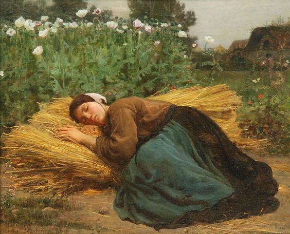 Jules Breton (French, 1827-1906), oil on panel, Woman Asleep on Hay