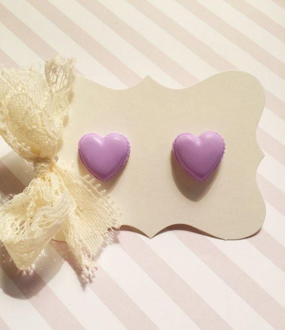Pastel Lavender Heart Stud Earrings by strawberriesncreamm on Etsy