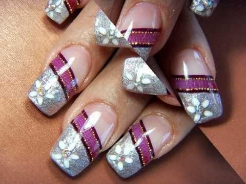 15 años diseños de uñas con acrílico y listón