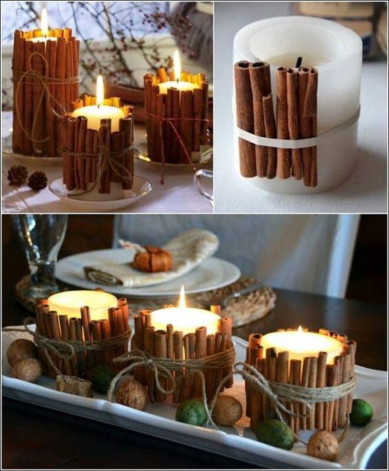 Velas decoradas com paus de canela