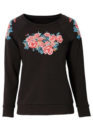 #sweater #black with #flower from #bodyflirt