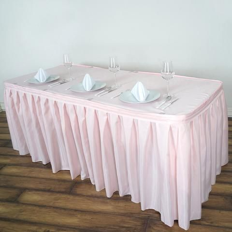 21ft Rose Gold Blush Pleated Polyester Table Skirt Table Skirt