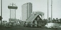 1978 The day they moved the famous wedding chapel down the strip to it's new location!  You don't see this everyday!