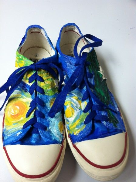 """Painted tennis shoes in bright colors, """"Starry Night Shoes"""" by Penny Gordon-Chumbley"""