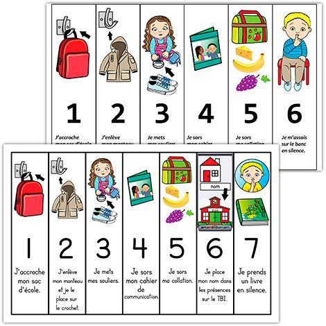 """Fichiers PDF téléchargeables 2 modèles : 6 étapes ou 7 étapes Versions en couleurs et en noir et blanc (7 étapes seulement) Format: 11 X 17''  Illustration de 7 étapes à effectuer à l'arrivée à l'école pour le préscolaire. Lors de l'impression du document, n'oubliez pas de cocher la case """"Réduire à la zone d'impression"""" afin d'imprimer la page entière."""