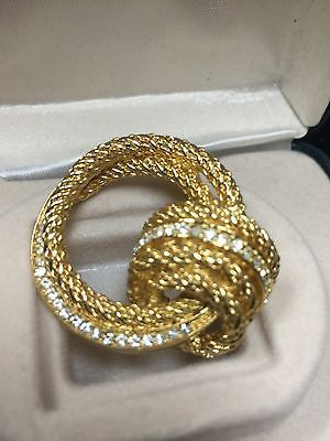 Signed Christian Dior Gold Plated Crystal Eternity Knot Brooch