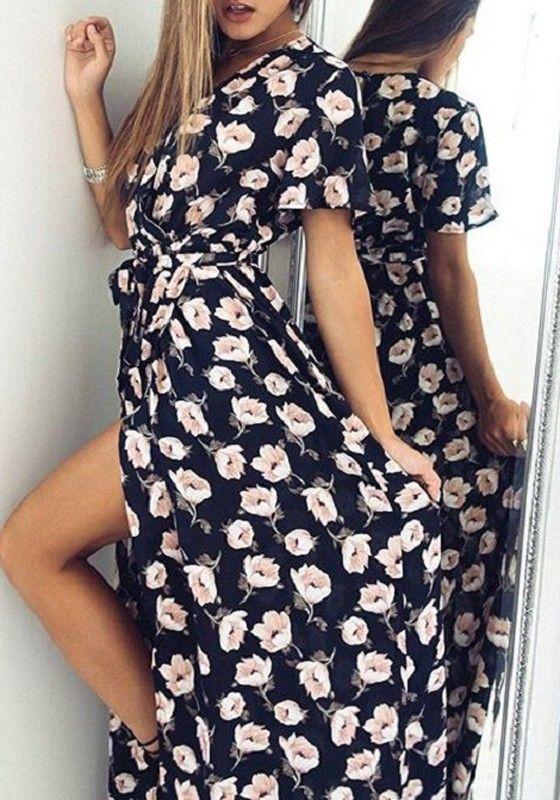 Robe Maxi Echarpes Irregulieres Imprime Fleuri Decollete Plongueeant Sans Manches Courtes Noir Maxi Robes Maxi Echarpe Robe