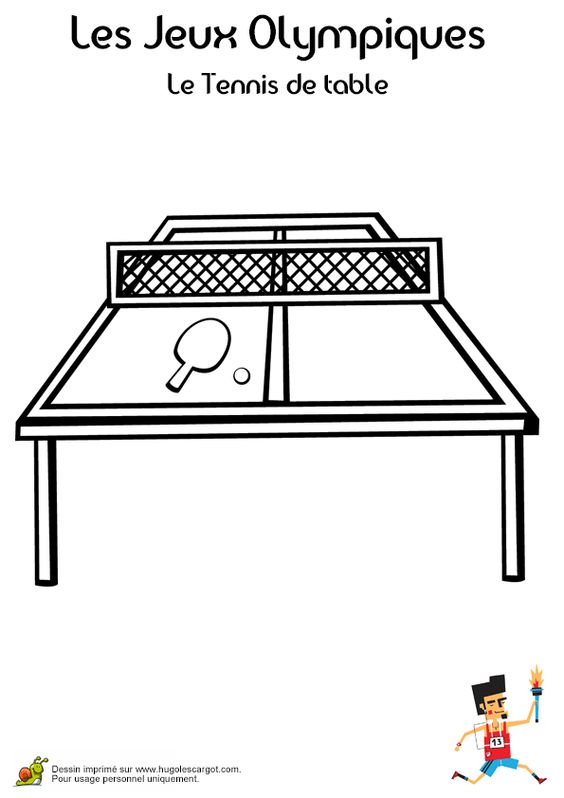 Coloriage d une table de ping pong avec raquette et balle coloriage de sport pinterest - Dimension d une table de ping pong ...