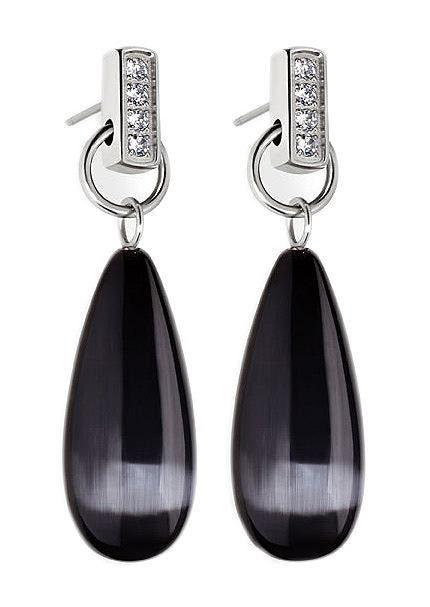 Paar Ohrstecker, »Candy, A0014-0060«, Tamaris. Sinnlich und modern sind diese schönen Ohrstecker aus massivem, glänzendem Edelstahl. Die Schmuckstücke werden von schwarz schimmernden, tropfenförmigen Katzenaugen (synth.) und funkelnden Zirkonia (synth.) geschmückt und sind ca. 3,8 cm lang.   Lieferung in einer TAMARIS-Verpackung....