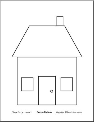 Shape puzzle house b w easy cut out the shapes and for Different shapes of houses
