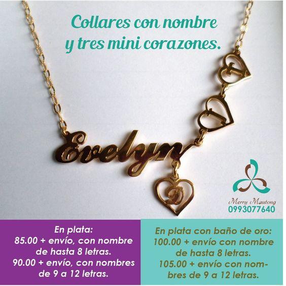 Collar con nombre y en el mini corazon la inicial de una persona importante en tu vida. Material plata con bano en oro. Ventas en Ecuador whatsapp 0993077640