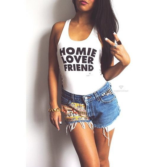 A homie lover friend…. Get the #Homie #Lover #Friend #tank from #Supercolour available now at www.shopsupercolour.com #vintage #studded hieroglyphics #levis #cutoffs #denim #rkelly #rnb