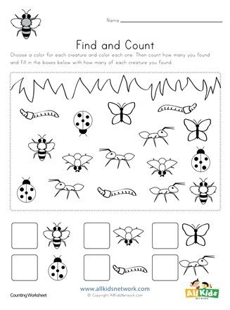 Bug Find And Count Worksheets All Kids Network Bugs Preschool Preschool Bug Theme Insects Theme Preschool - View Preschool Insects Worksheets For Kindergarten PNG