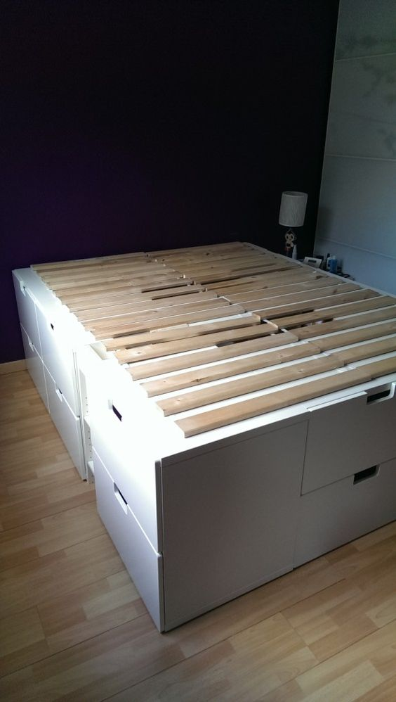 Captains bed beds and storage on pinterest for Ikea bed hack storage