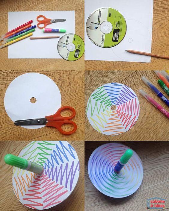 Fabriquer une toupie avec un vieux cd ou dvd. Activités enfants. #cabane-à-idees