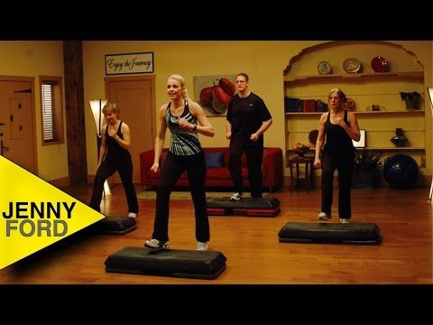 Jenny Ford Step by Step 51:06. Really good workout! Keeps you constantly moving, a few tricky steps (for me) but not many and a modifier shows less complicated variations. Intermediate level.
