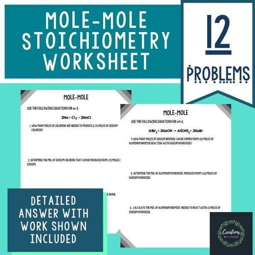 Mole Mole Stoichiometry Worksheet Detailed Answer Key Distance Learning Distance Learning Chemistry Worksheets Answer Keys