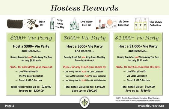 Here are only a few rewards that you will receive for hosting a Vie Party!!  www.fleurdevie.co/