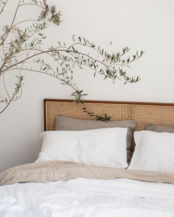 French Linen Bedding in WHITE & NATURAL. Beautiful Home Decor. Aesthetic Design. Bedroom Styling.