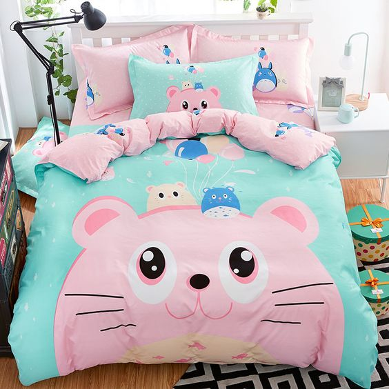 """Cute Cartoon 4 Piece Bed Set  Use the code """"coquette"""" at checkout for 10% off All Items ♥"""
