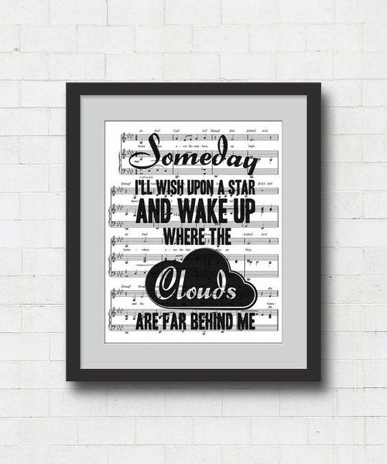 Over The Rainbow Lyrics Sheet Music: Someday I'll Wish Upon A Star Art Print